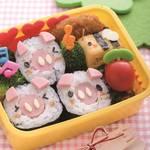 キャラ弁レシピ|ぶたちゃんのり巻きのお弁当