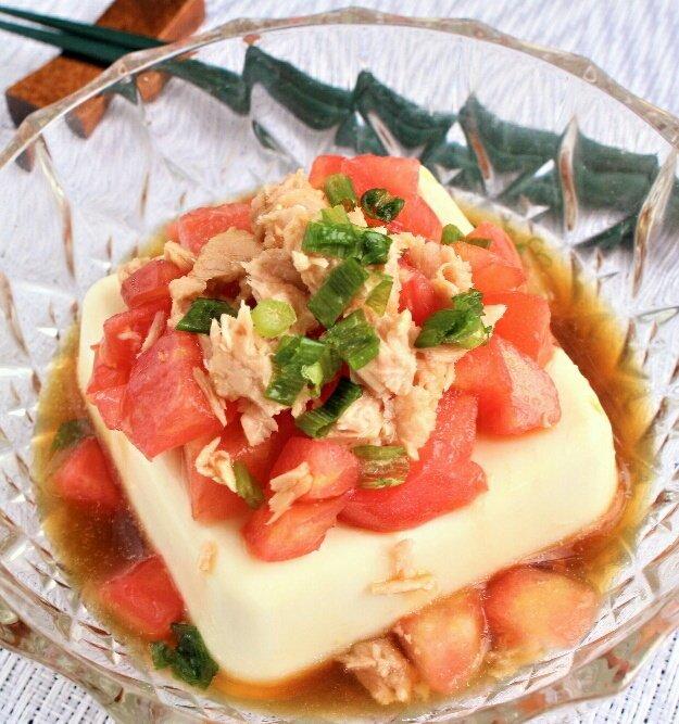 豆腐のツナトマトのせ