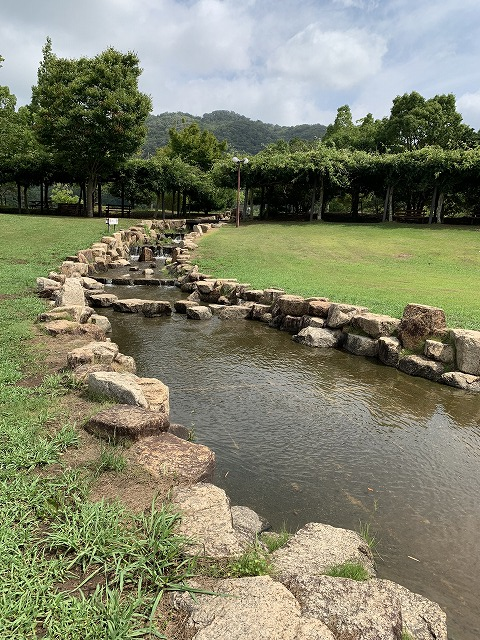 じゃぶじゃぶ池に続く小川