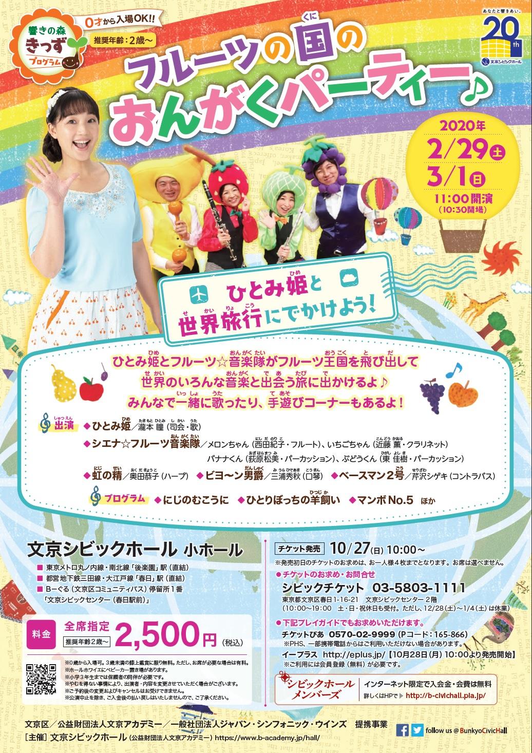 <小ホール>フルーツの国のおんがくパーティー♪ ~ひとみ姫と世界旅行にでかけよう!~