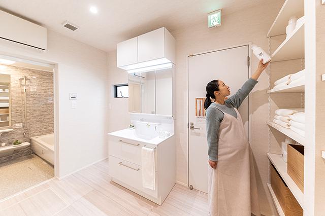 浴室につながる広~い洗面室&脱衣場